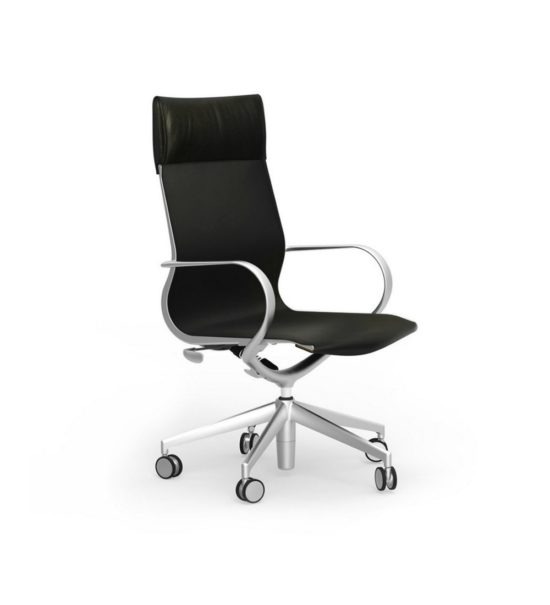 CUR101 Aluminum High Back Leather Executive & Conference