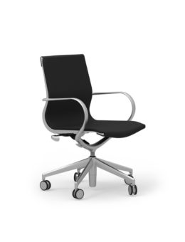 CUR103 Aluminum Mid Back Leather Executive & Conference