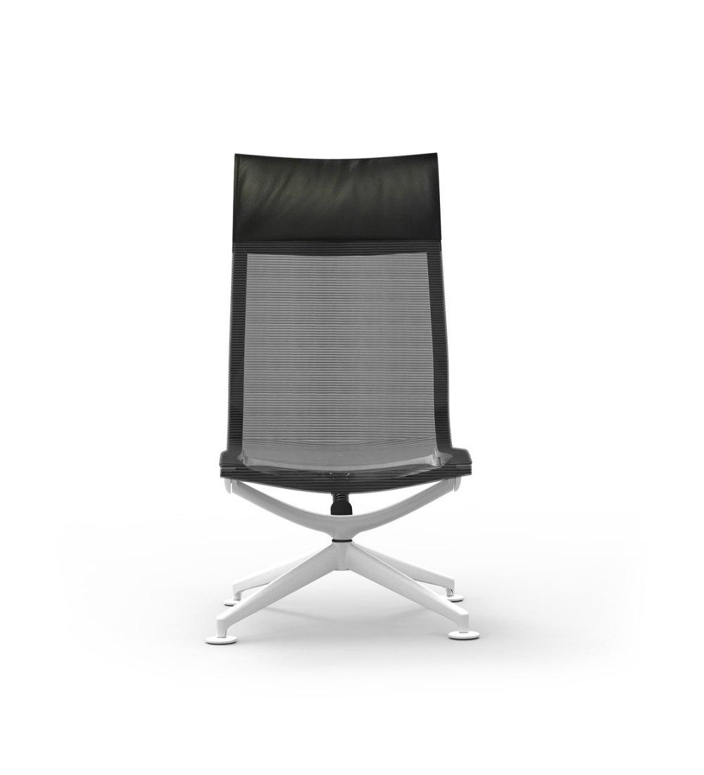 Aluminum High Back Mesh Lounge Armless Chair Ergo Flow