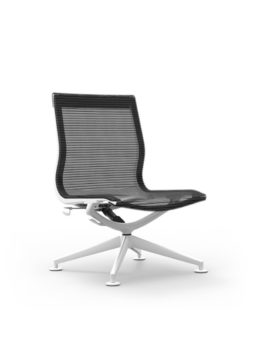CUR124 Aluminum Mid Back Mesh Lounge Armless Chair