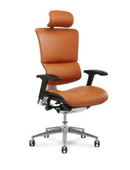 Cognac X4 Leather Executive Chair with headrest