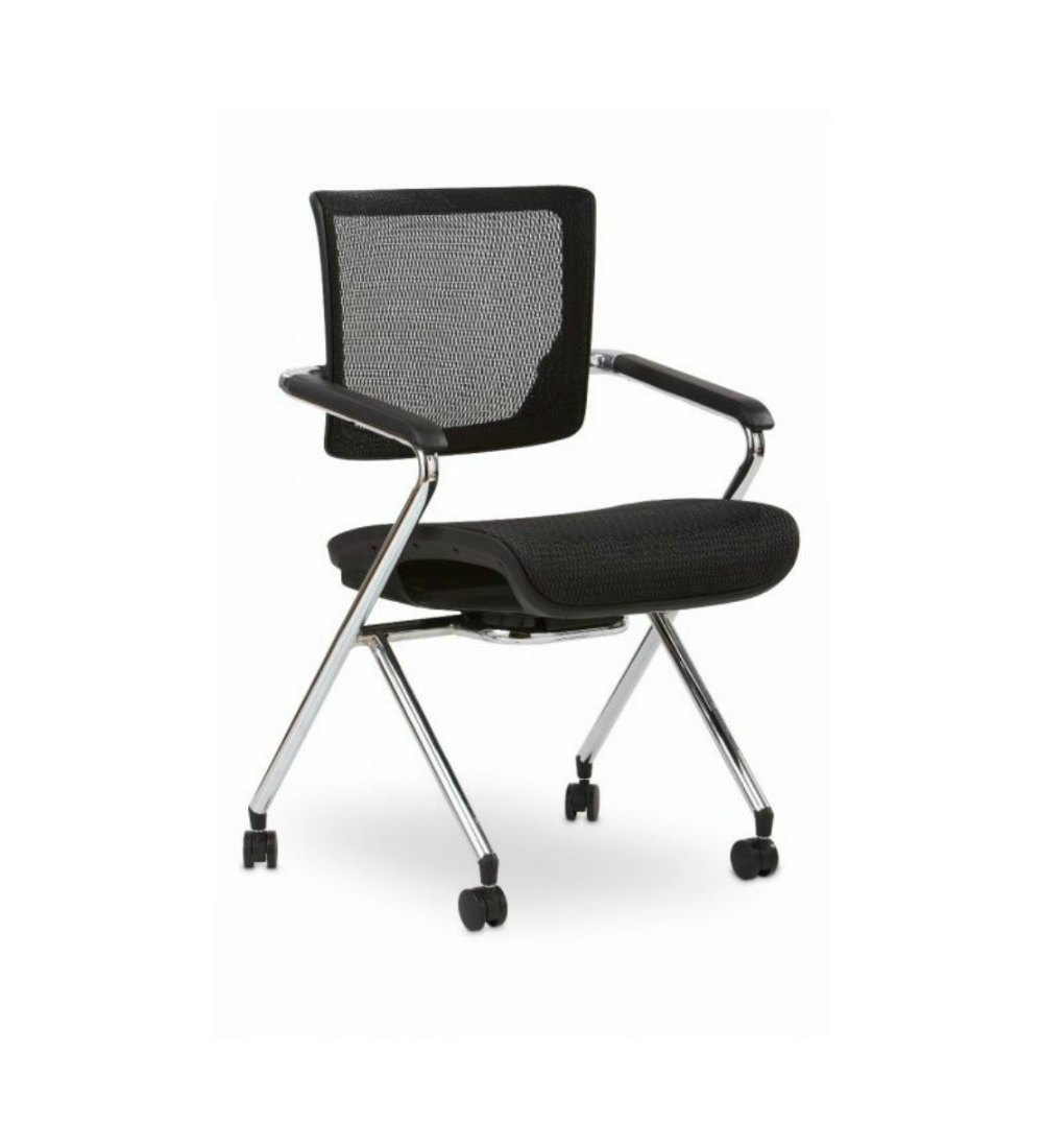Chair With Wheels >> X Stack Chair Black With Wheels