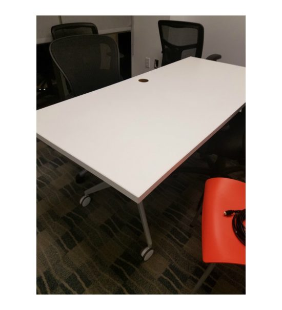 Used Haworth White Rolling Table
