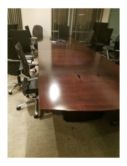 Used Dark Wood Conference Table with Electrical components 14'6×4'6