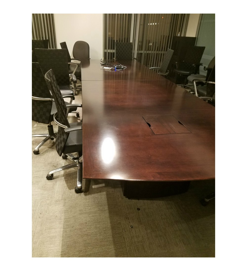 Used Dark Wood Conference Table With Electrical Components X - 10 x 4 conference table