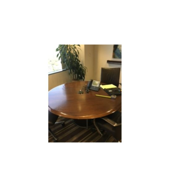 Round Conference Table 48x48 Dark Walnut Gently USED